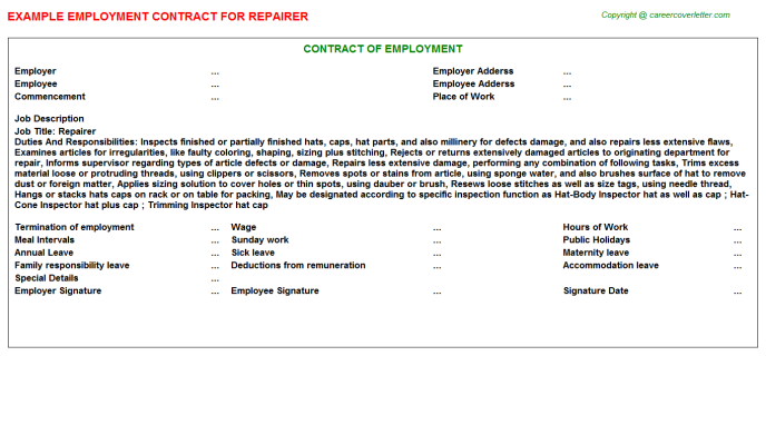 Repairer Employment Contract Template
