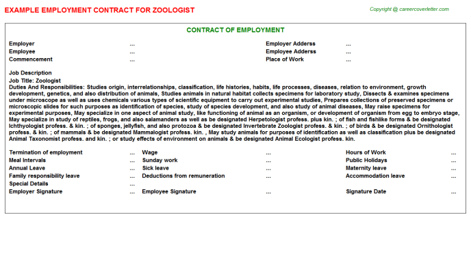 Zoologist Job Employment Contract Template