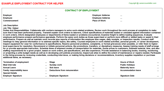 Helper Job Employment Contract Template