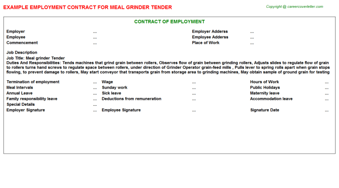 meal grinder tender employment contract template