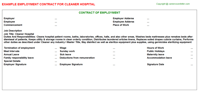 Cleaner hospital job employment contract (#5219)