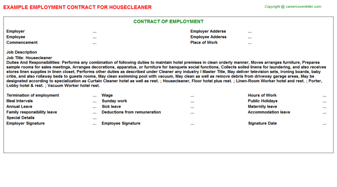 Housecleaner Employment Contract Template