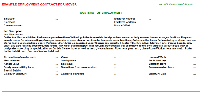 Mover Employment Contract Template