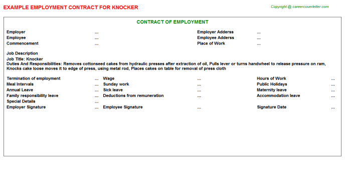Knocker Employment Contract Template
