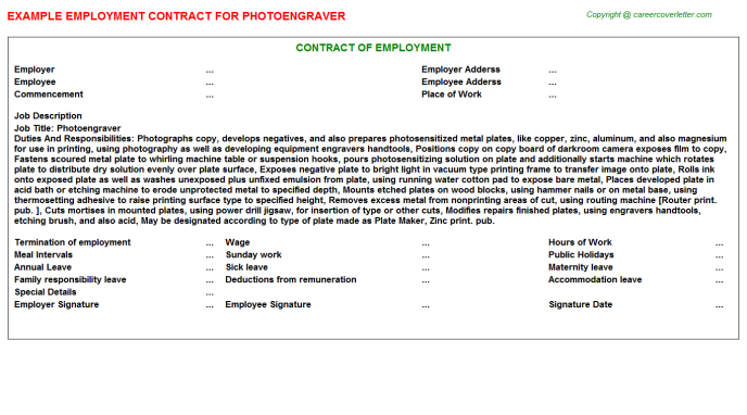 Photoengraver Employment Contract Template