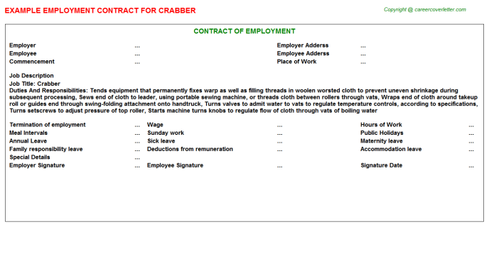 Crabber Employment Contract Template