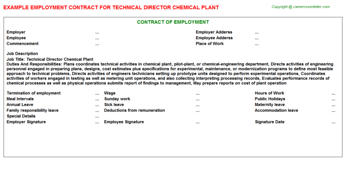 Technical Director Chemical Plant Employment Contract Template