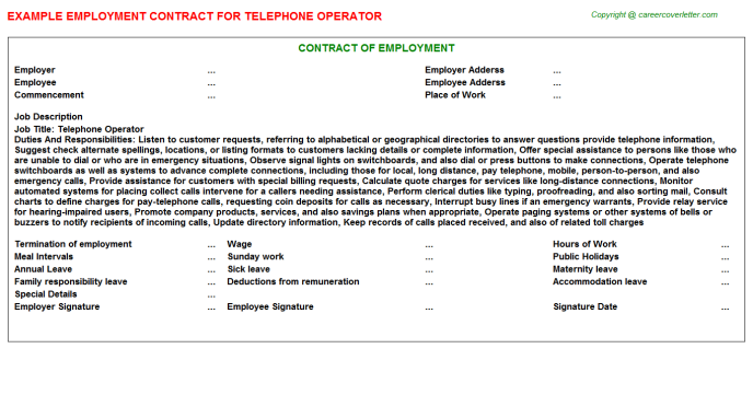 Telephone Operator Employment Contract Template