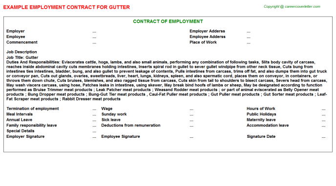 Gutter Employment Contract Template
