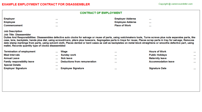 Disassembler Employment Contract Template
