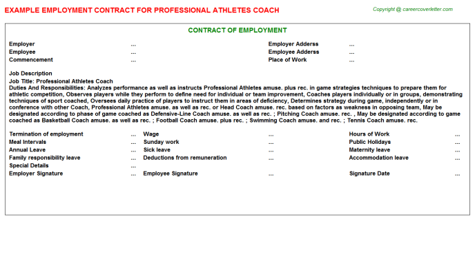 professional athletes coach job contract sample