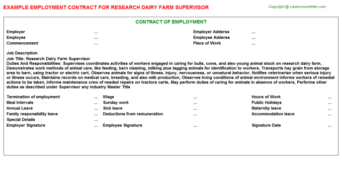 Research Dairy Farm Supervisor Employment Contract Template