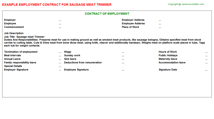 sausage meat trimmer employment contract template