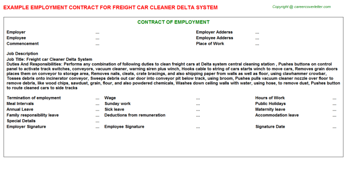 Freight car Cleaner Delta System Employment Contract Template