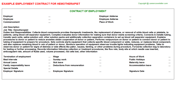 Hemotherapist Job Employment Contract Template