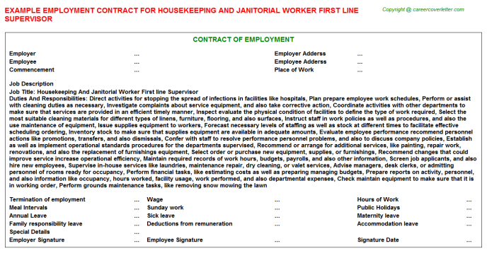 Housekeeping And Janitorial Worker First line Supervisor Employment Contract Template