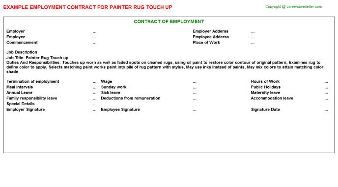 painter rug touch up employment contract template