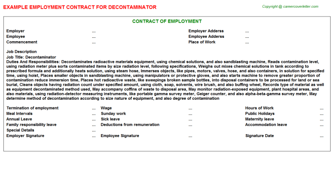 Decontaminator Job Employment Contract Template