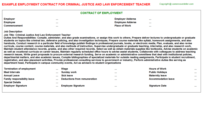 Criminal Justice And Law Enforcement Teacher Employment Contract Template
