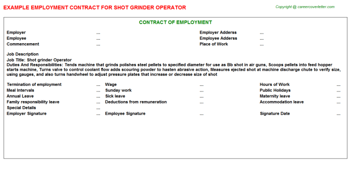 Shot grinder Operator Employment Contract Template