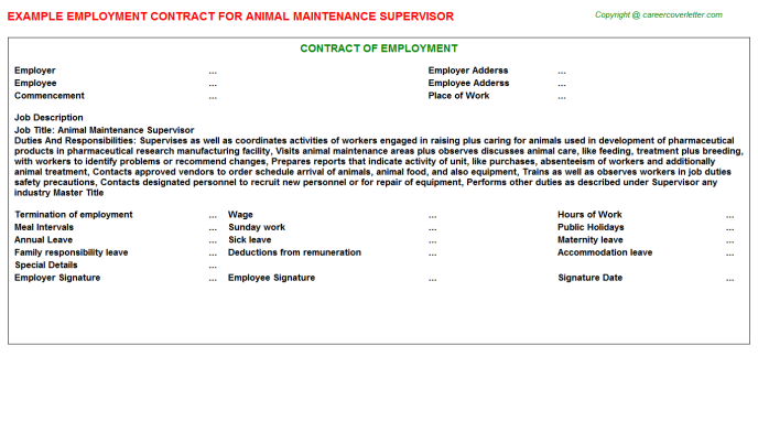 animal maintenance supervisor employment contract template