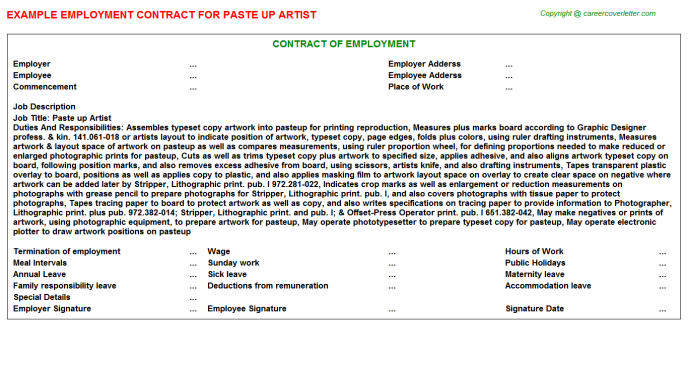 paste up artist employment contract template