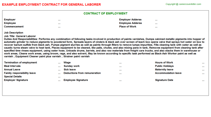 general laborer employment contract