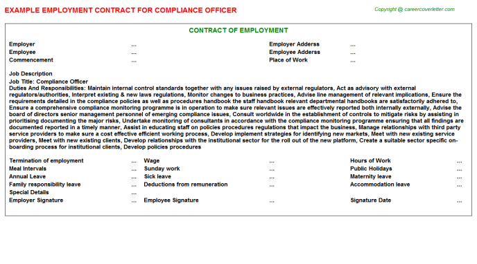 Compliance Officer Employment Contract Template