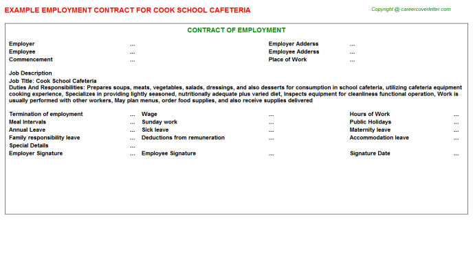 Cook School Cafeteria Employment Contract Template
