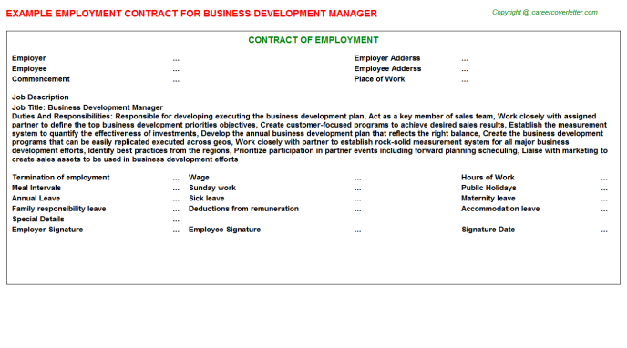 Business Development Manager Employment Contract Template