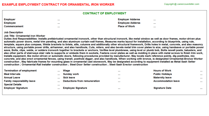 ornamental iron worker employment contract template