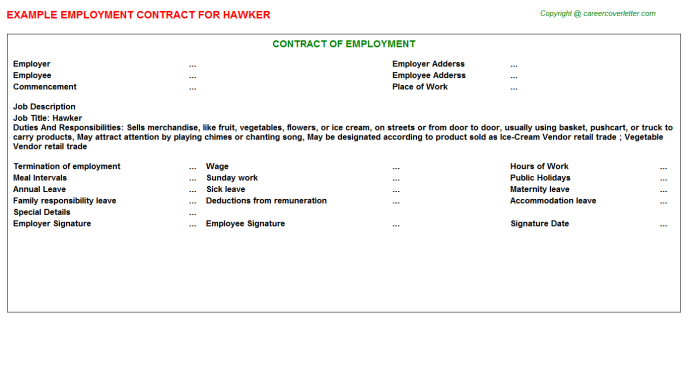 Hawker Job Employment Contract Template
