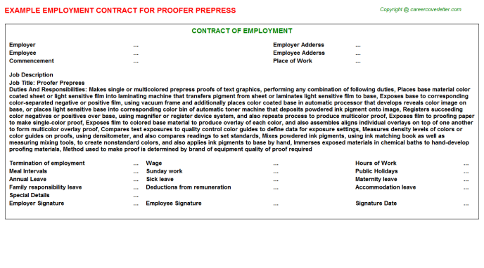Proofer Prepress Employment Contract Template