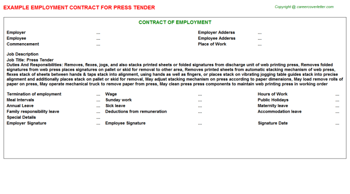Press Tender Employment Contract Template