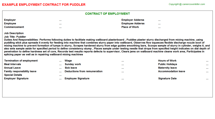 Puddler Employment Contract Template