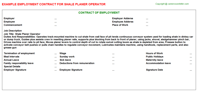 Shale Planer Operator Employment Contract Template