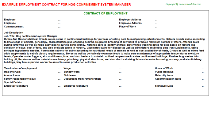 hog confinement system manager employment contract template