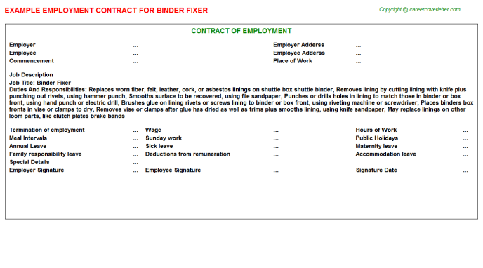 Binder Fixer Employment Contract Template