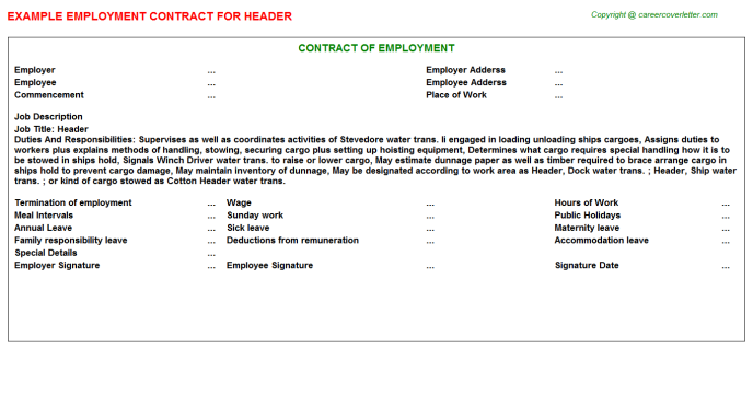 Header Employment Contract Template