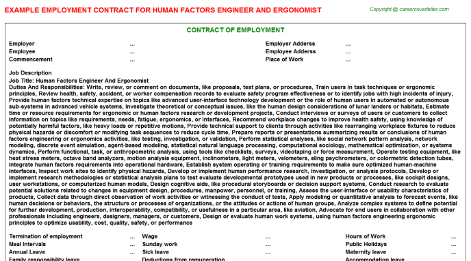 Human Factors Engineer And Ergonomist Employment Contract Template