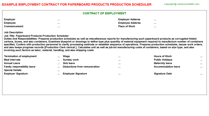 paperboard products production scheduler employment contract template