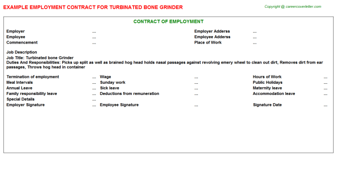 turbinated bone grinder employment contract template