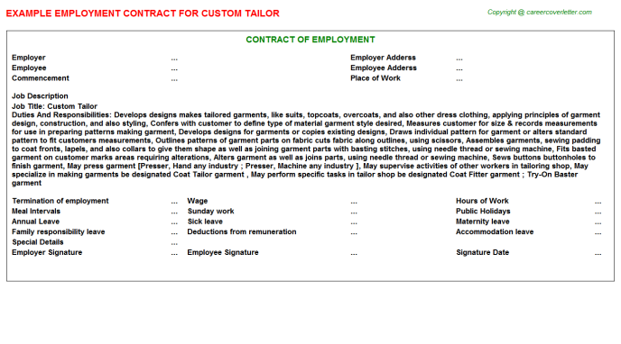 custom tailor job employment contract