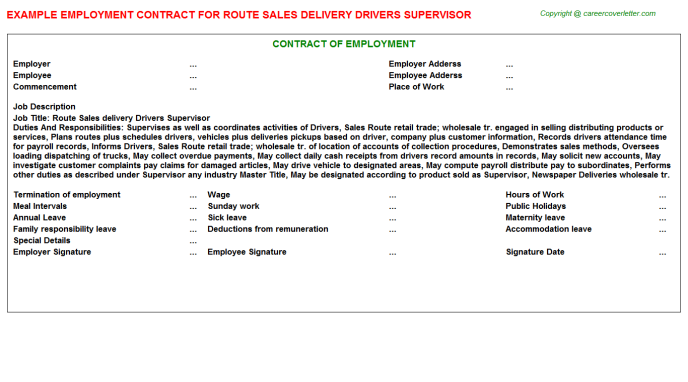 Route Sales delivery Drivers Supervisor Employment Contract Template