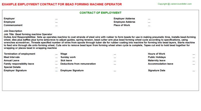Bead Forming Machine Operator Employment Contract Template