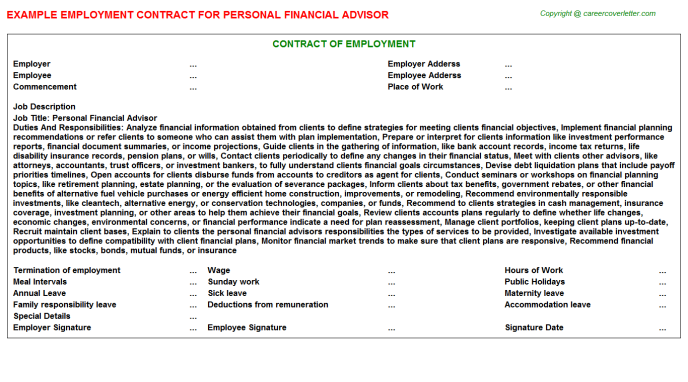 Personal Financial Advisor Employment Contract