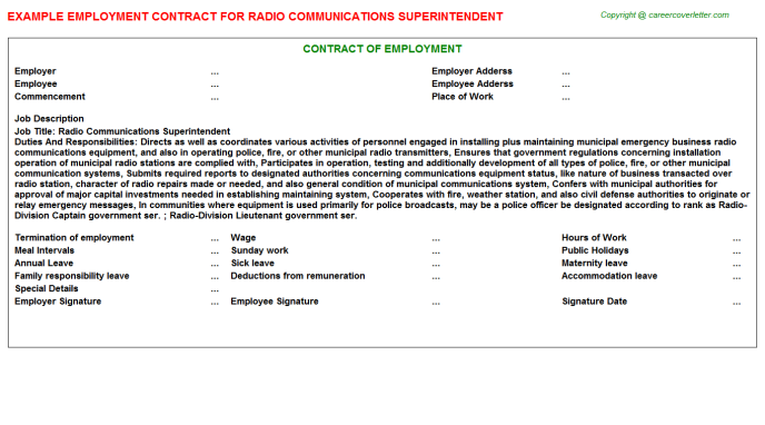 Radio Communications Superintendent Employment Contract Template