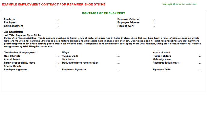 Repairer Shoe Sticks Job Contract Template