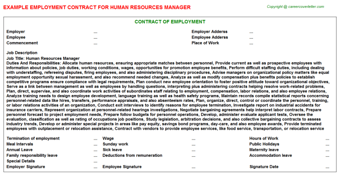 Human Resources Manager Employment Contract Template