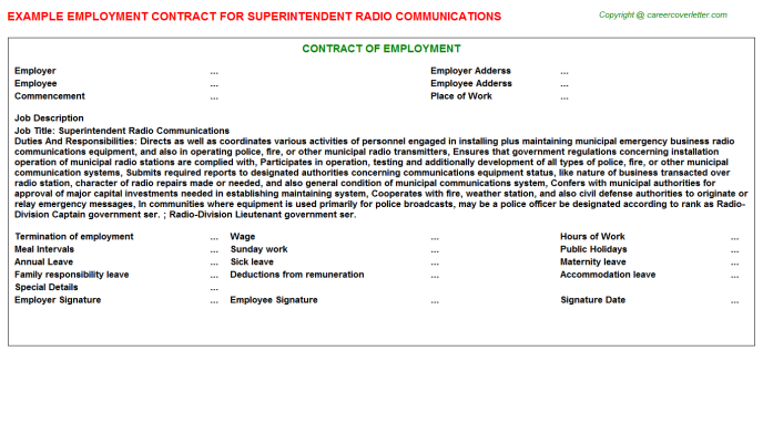 Superintendent Radio Communications Employment Contract Template